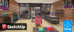 Vue d'une boutique 3D réalisée avec SketchUp