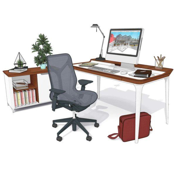 Un bureau d'architecte avec un PC dont l'écran affiche un projet SketchUp