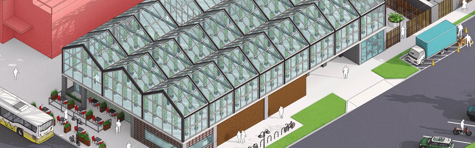 Vue aérienne de la verrière d'un restaurant moderne sous SketchUp 2021