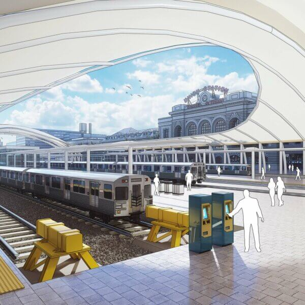 Union Station vue des voies de train avec SketchUp et V-Ray