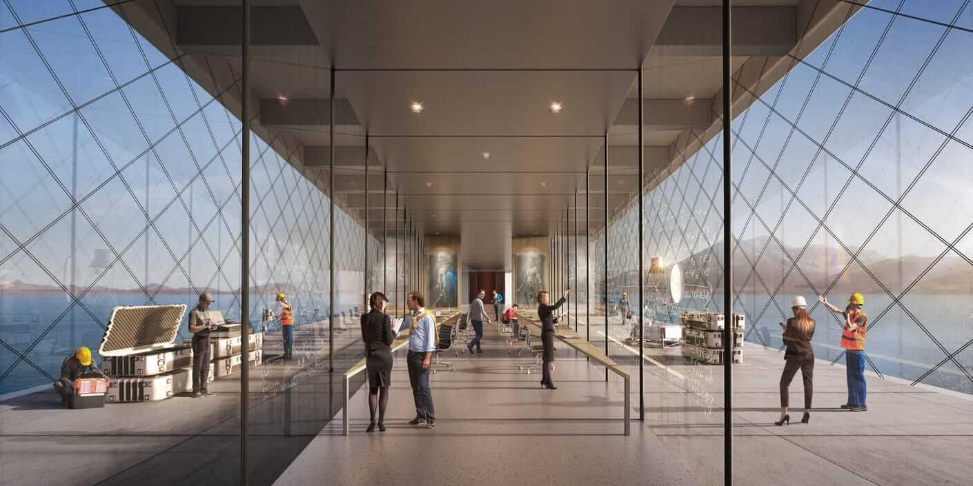 vue d'une architecture en verre très lumineuse en cours de chantier